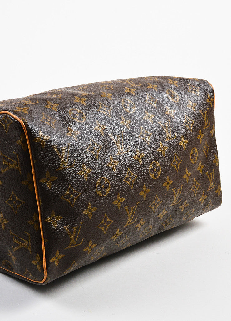 "Louis Vuitton Brown and Tan Coated Canvas Leather Trim Monogram ""Speedy 30"" Bag Bottom View"