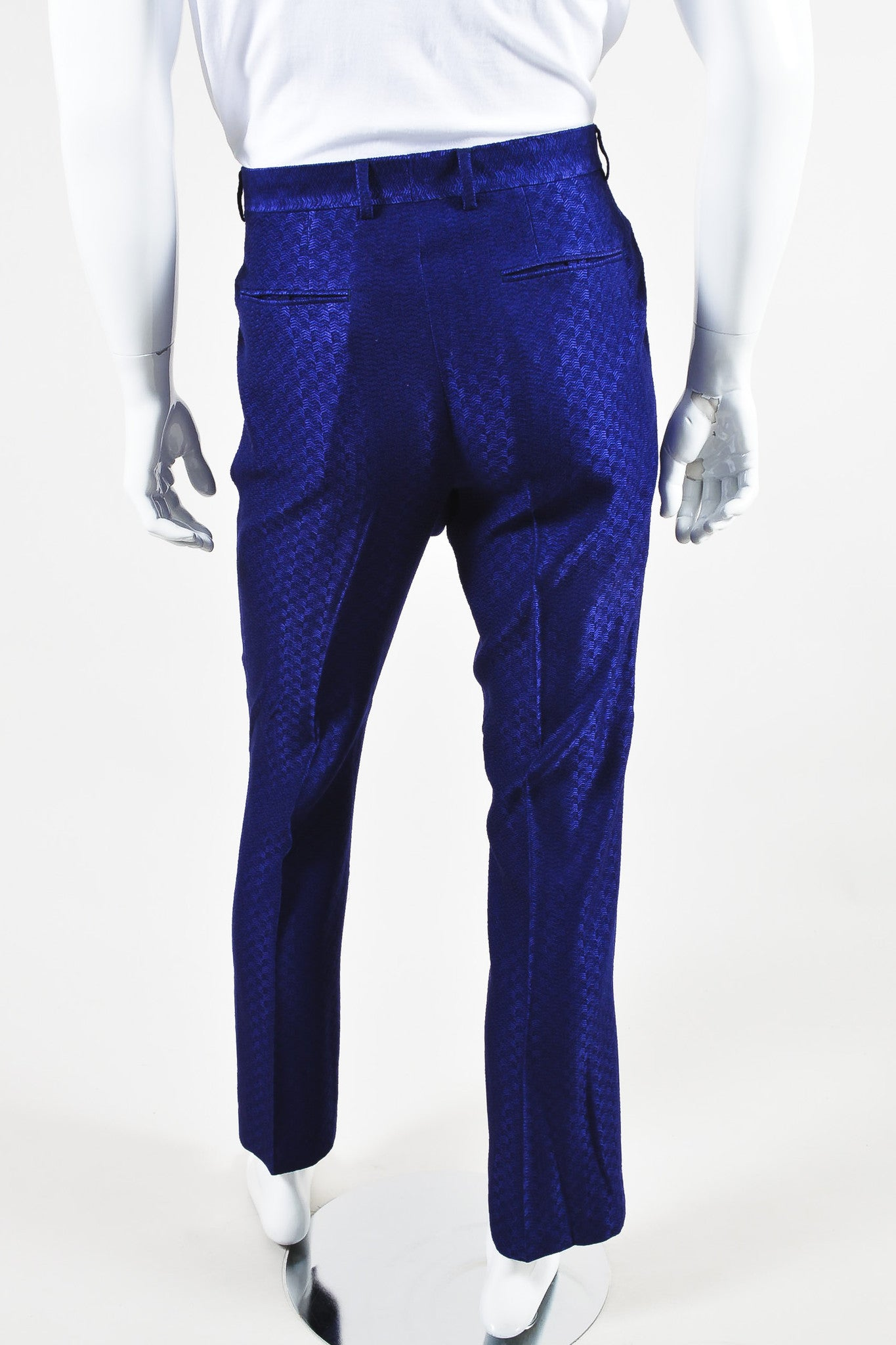 MEN'S Purple Roberto Cavalli Wool Knit Chevron Trousers Back