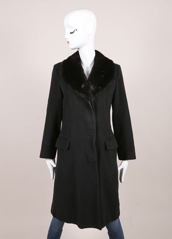 Marc Jacobs Black Cashmere Fur Collar Long Sleeve Coat Frontview