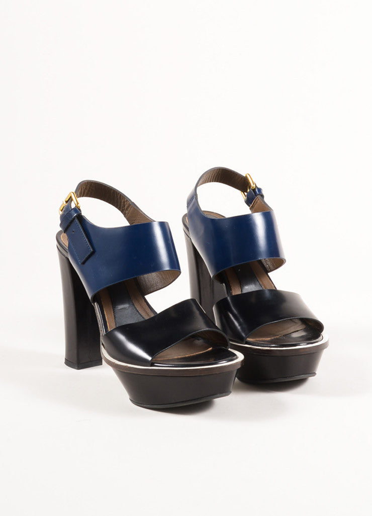 Marni Black and Navy Glossy Leather Slingback Platform Sandals Frontview