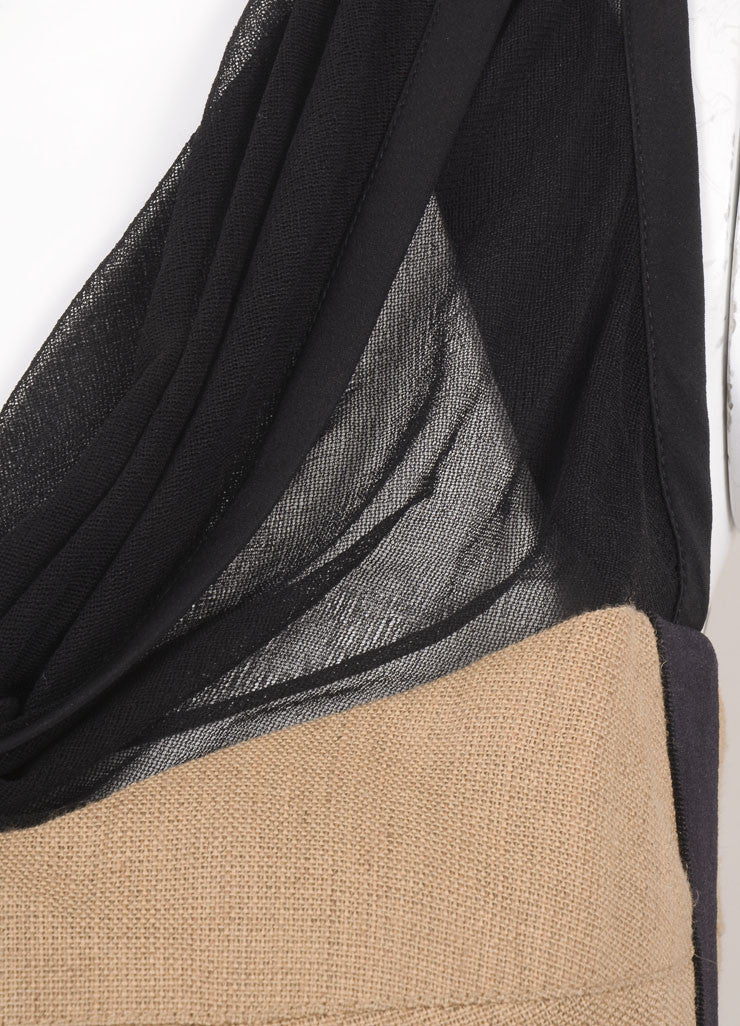Narciso Rodriguez Black and Tan Sleeveless Cowl Neck Fitted Dress Detail