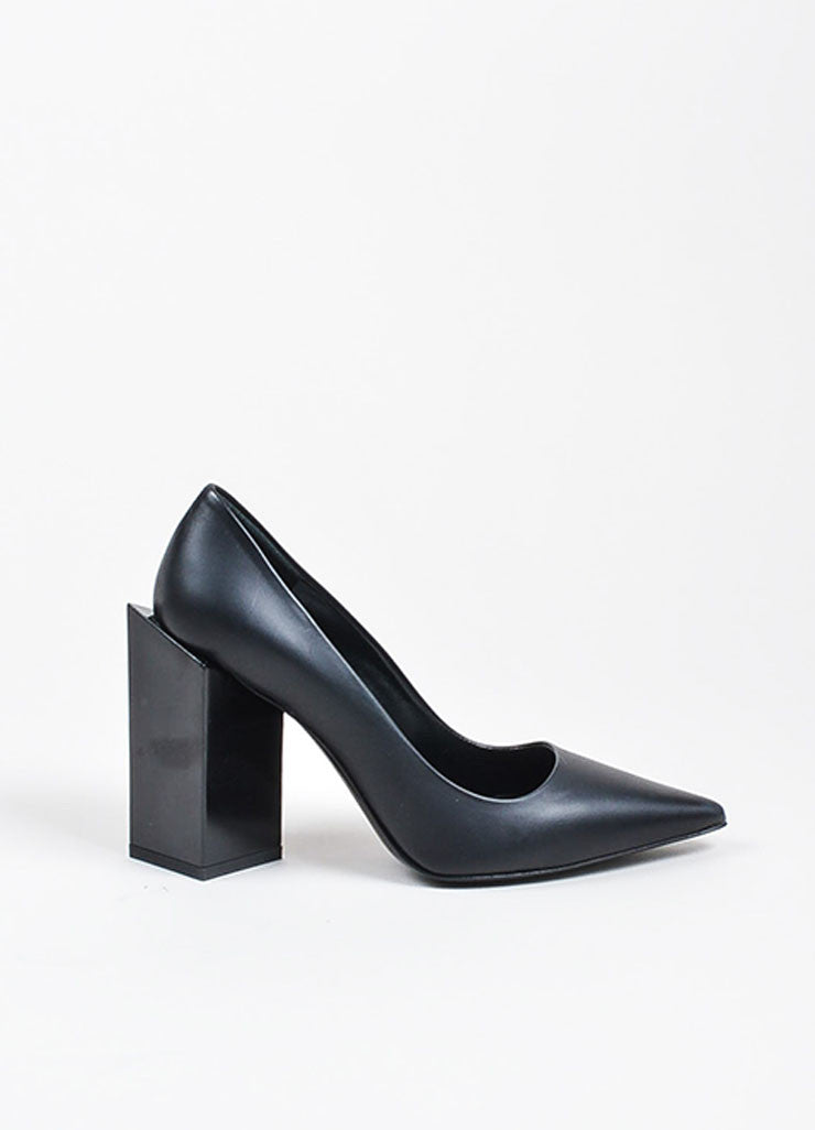 Pierre Hardy Black Leather Chunky Block Heel Pointed Toe Pumps Sideview