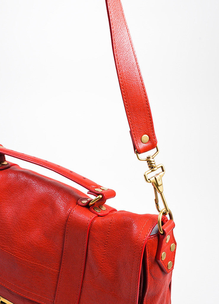 Red Leather Gold Toned Hardware Proenza Schouler Large PS1 Satchel Bag Detail 2