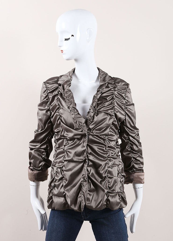 Rene Lezard New With Tags Metallic Grey Scrunch Jacket Frontview