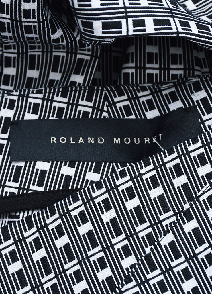 Black and White Roland Mouret Mimosa Check Straight Ankle Pants Brand