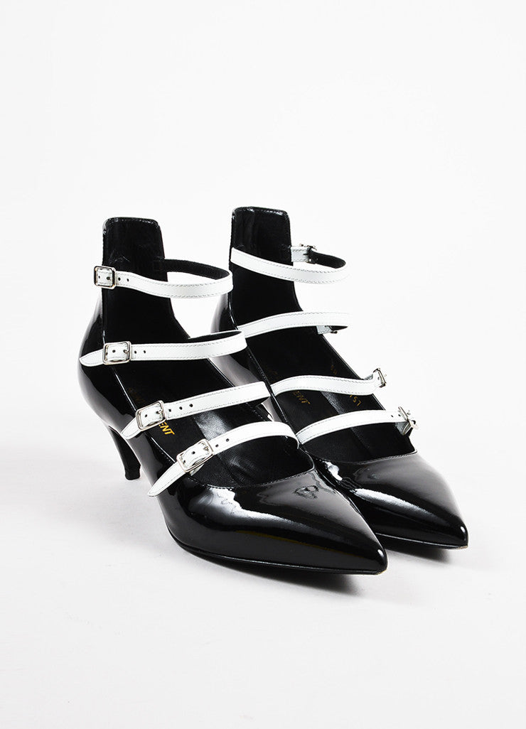 Saint Laurent Black White Patent Leather Pointed Toe Buckle Heels Front
