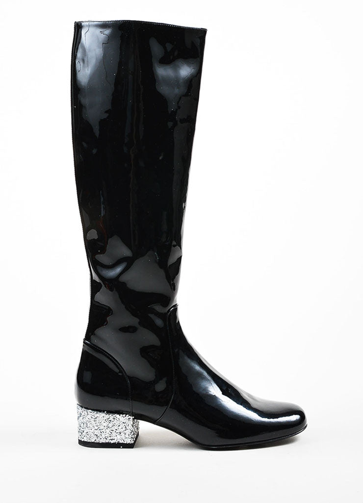 Black Saint Laurent Patent Glitter Heel Knee High Boots Sideview