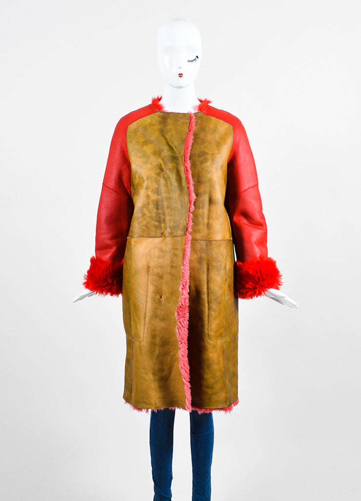 Red and Brown¥éË Sofie D'Hoore Fur Leather Reversible Patched Coat Frontview 2