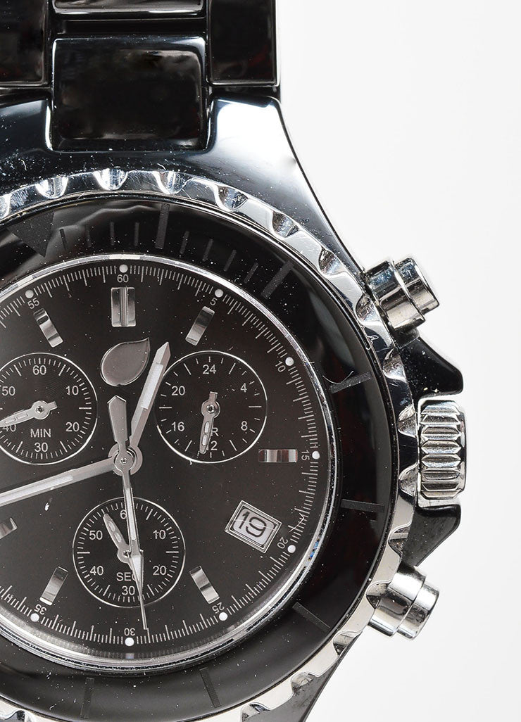 Black and Silver Toned Tamara Comolli Cermaic Large Chronograph Bracelet Watch Detail