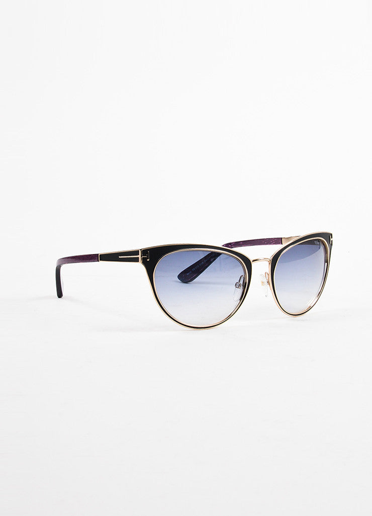 "Tom Ford Black, Blue, and Red Metallic ""Nina"" Cat Eye Sunglasses Sideview"
