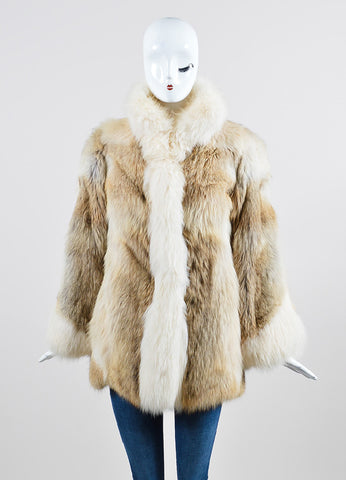 Cream, Beige, and Brown Fox Fur Winter Coat Frontview 2