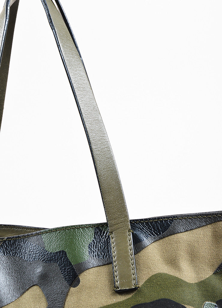 "Valentino Garavani Green and Black Canvas and Leather Camo ""Rockstud"" Tote Detail 2"