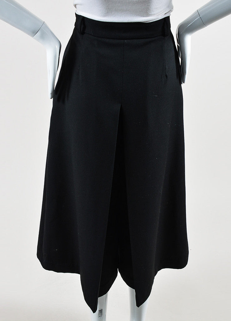 "Vilshenko Black Wool Pleated ""Lucy"" Culottes Back"