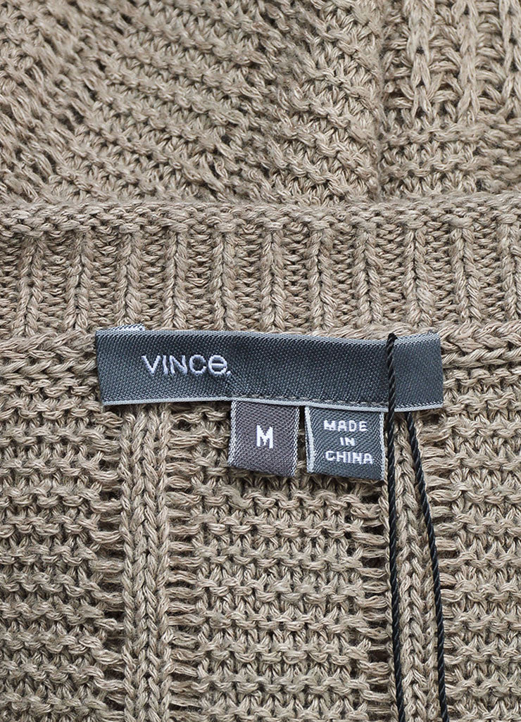 Tan Vince Woven Linen Pullover Sweater Brand