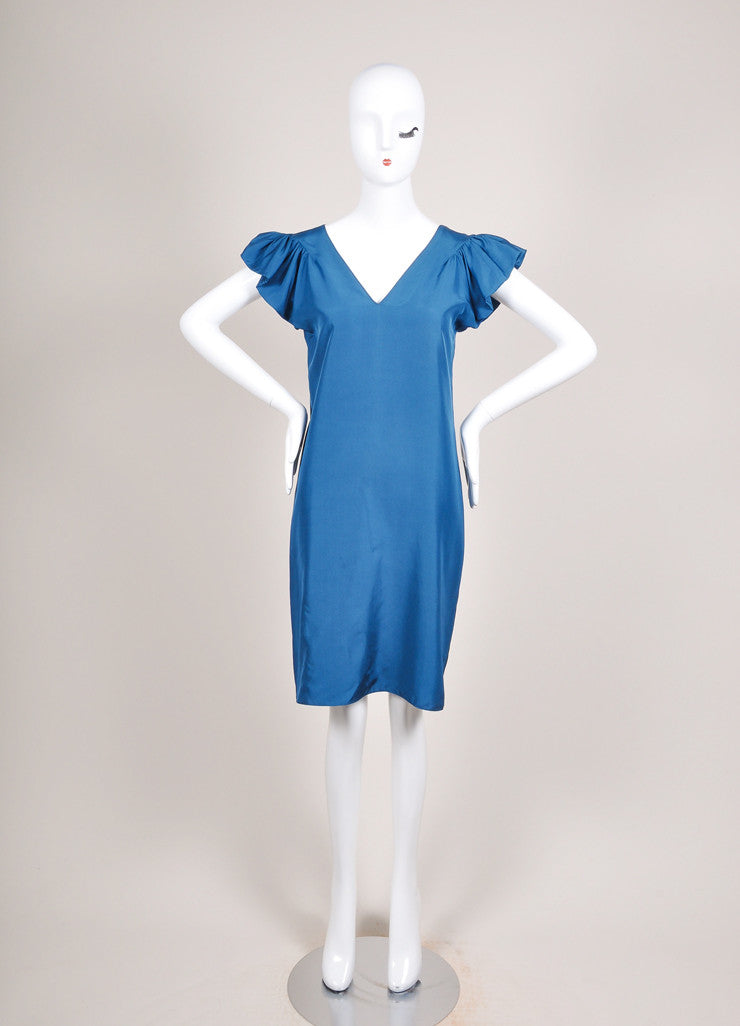 Yves Saint Laurent Teal Blue Silk Butterfly Sleeve Dress Frontview