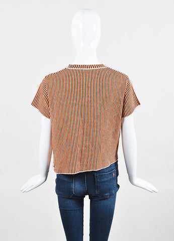 "Acne Studios Cream and Orange Jacquard Knit ""Jana Stripe"" T-Shirt Backview"