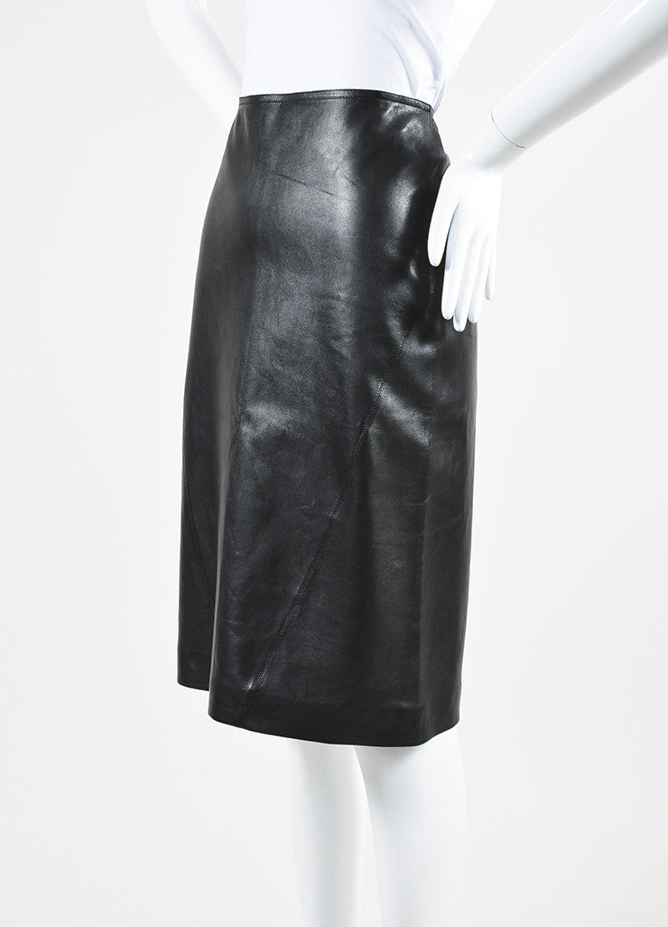 Black Alaia Lamb Leather Straight Cut Pencil Skirt Sideview