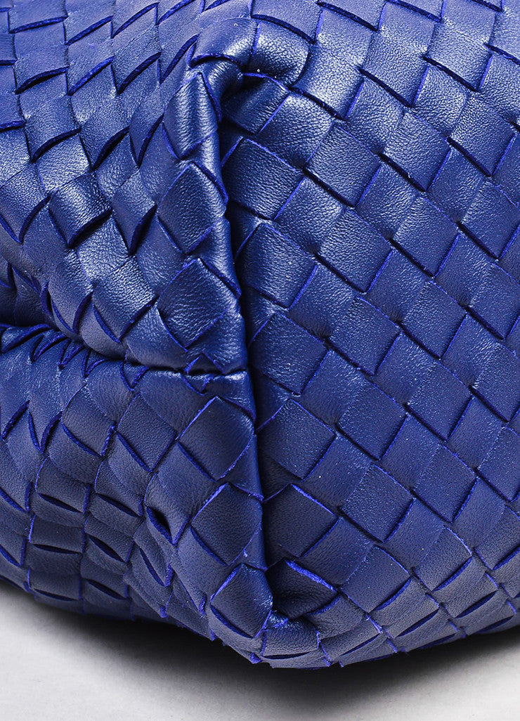 "Blue Bottega Veneta Leather Intrecciato Medium ""Olimpia"" Shoulder Bag Detail 2"