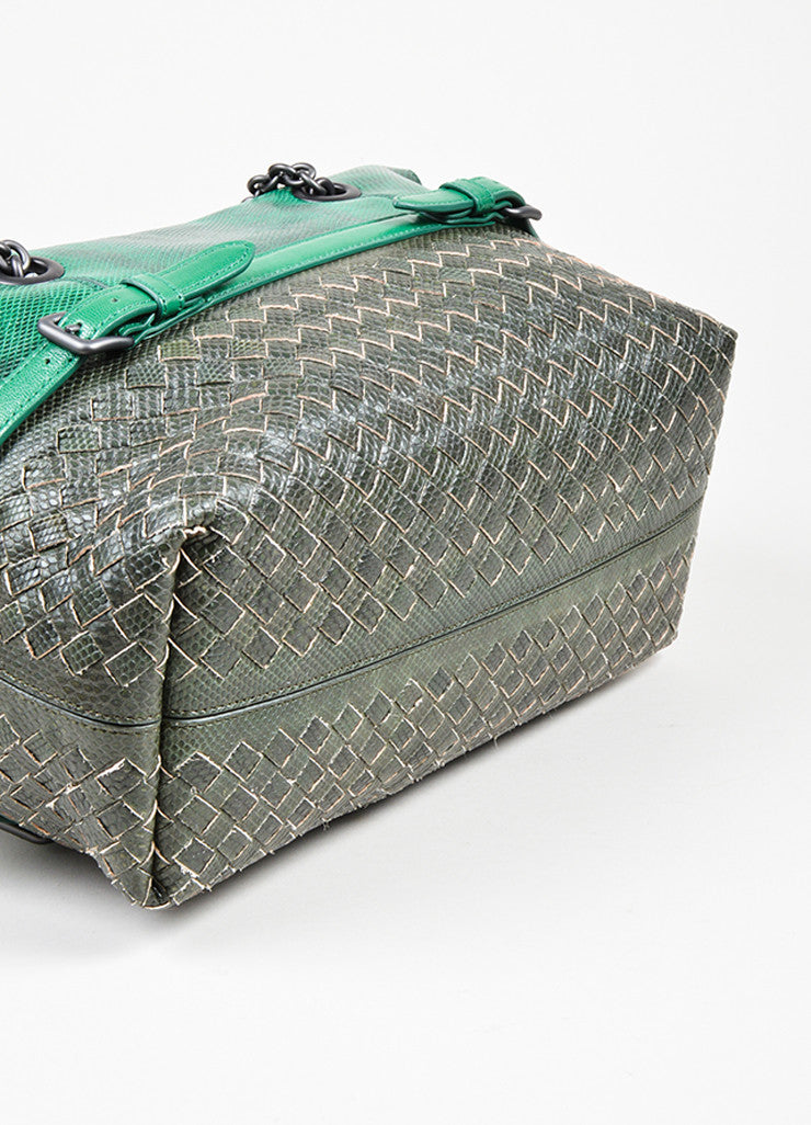 Green and Grey Bottega Veneta Lizard Leather Chain Strap Satchel Bag Bottom View
