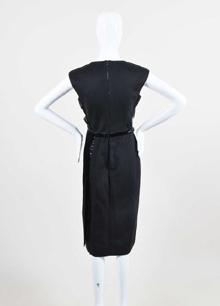 Black Bottega Veneta Wool and Satin Asymmetrically Draped Sleeveless Dress Backview