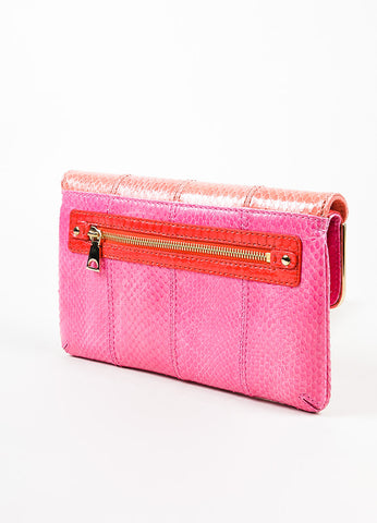 "Brian Atwood Pink Colorblock Watersnake ""Carla"" Envelope Clutch Bag Backview"