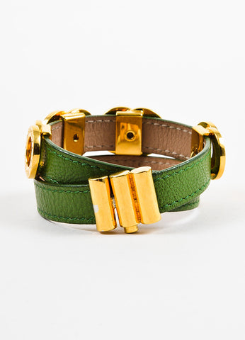 "Bulgari Green and Gold Toned Calfskin Double Coiled ""Nice to Have"" Wrap Bracelet Backview"