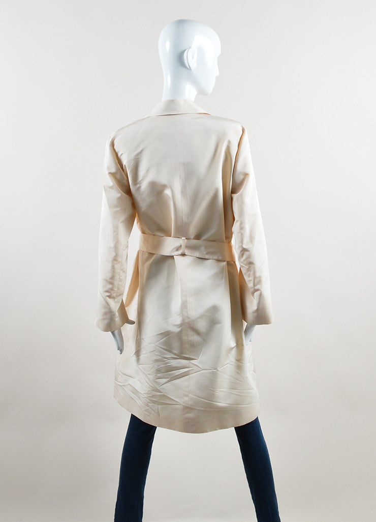 Chanel Cream Silk Long 'CC' Button Belted Jacket Backview