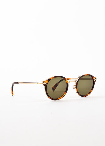 Celine Black Tinted Lens Brown Tortoise Gold Toned Metal Circle Frame Sunglasses Sideview