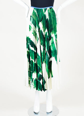 Celine Green and White Silk Brushstroke Print Pleated Flare Maxi Skirt Frontview