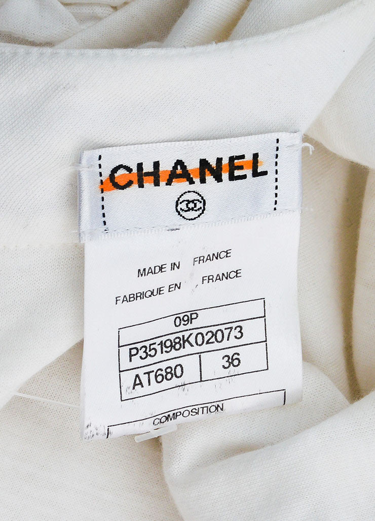 White Cotton Chanel Ruffled Crop Sleeve Bubble Dress brand