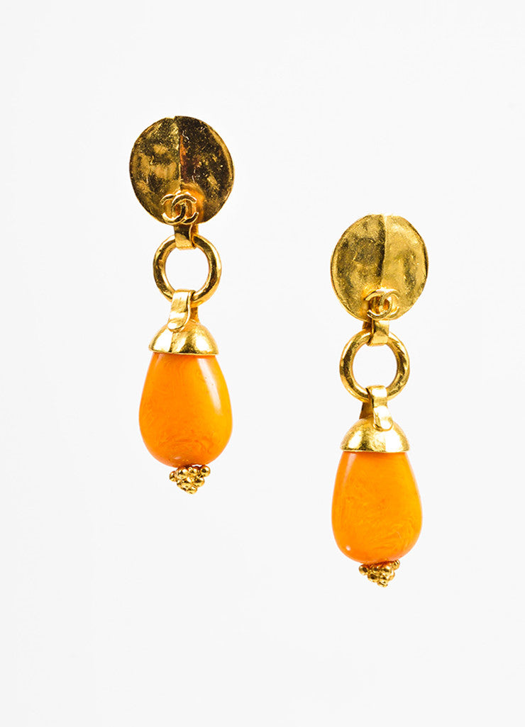 Gold Toned and Orange Bead Chanel 'CC' Hammered Drop Clip On Earrings Frontview