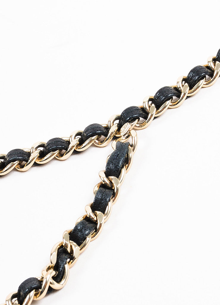 Chanel Black and Gold Toned Leather Chain 'CC' Belt Detail 2