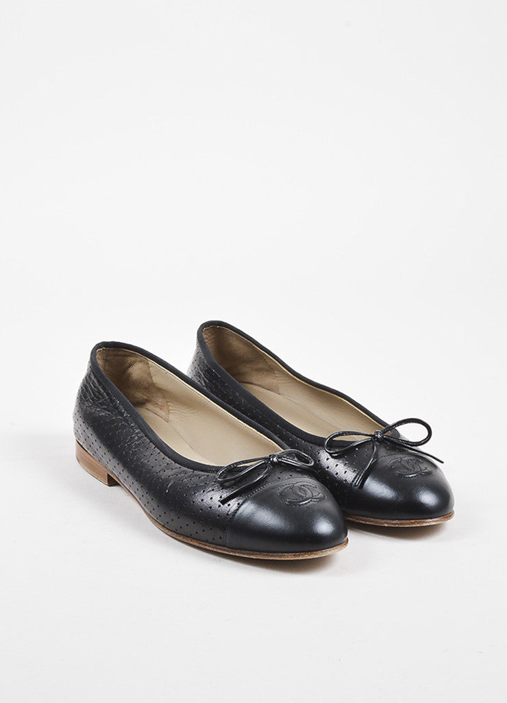 Chanel Black Leather Perforated Bow Tie 'CC' Stitched Toe Ballerina Flats Frontview