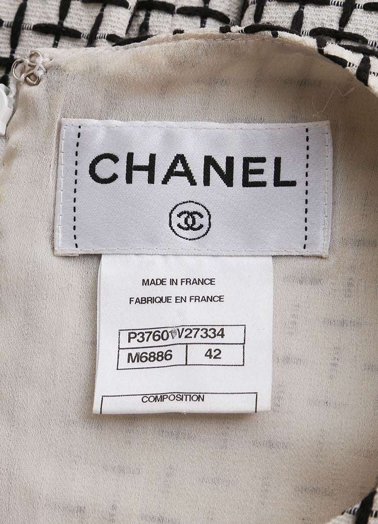 Chanel Black and White Cotton and Silk Woven Sleeveless Pleated A-Line Dress Brand