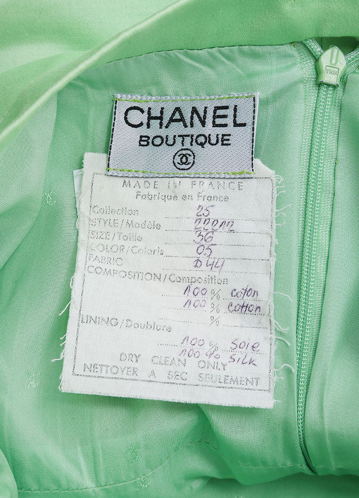 Chanel Lime Green Poplin Woven Pencil Skirt Brand