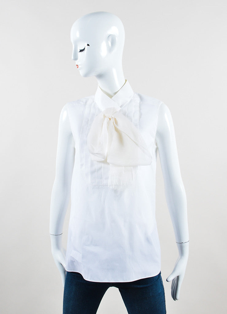 Chanel White Poplin Silk Chiffon Bow Pleated Sleeveless Blouse Frontview