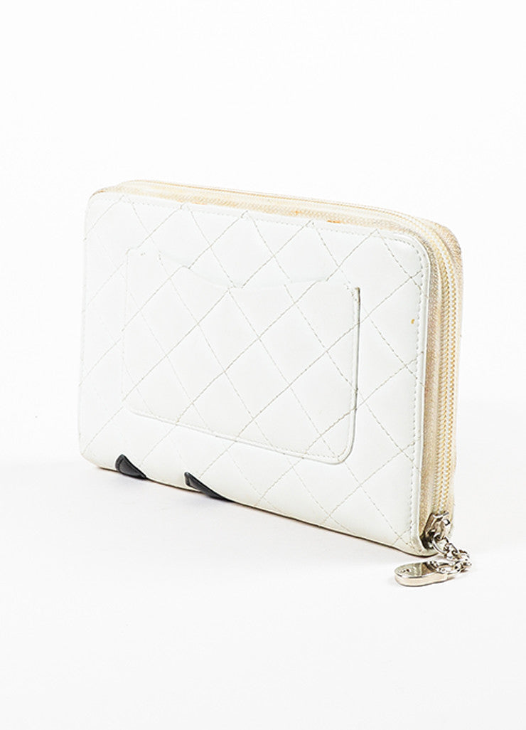 "Chanel White Quilted Lambskin Leather Black 'CC' Stitched ""Ligne Cambon"" Wallet Sideview"