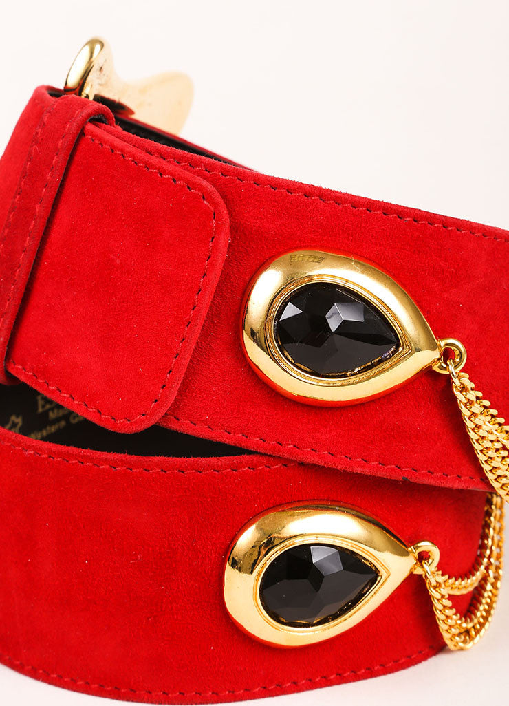 Escada Red, Black, and Gold Toned Suede Chain Link Faux Gem Oversized Belt Detail