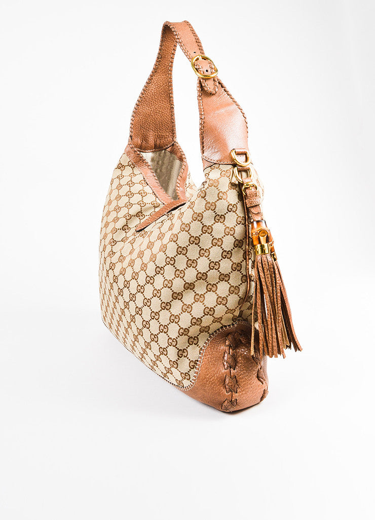 "Gucci Tan Monogram Canvas Leather ""Large New Jackie"" Tassel Hobo Shoulder Bag Sideview"