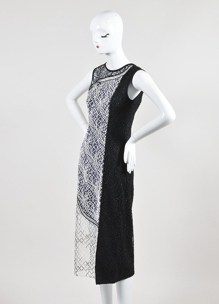 Black and White Jonathan Simkhai Mesh Embroidered Paneled Midi Dress Sideview
