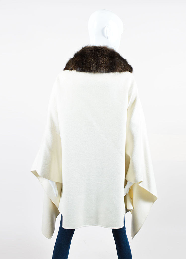 White and Brown Loro Piana Cashmere Fur Collar Belted Zip Cape Backview