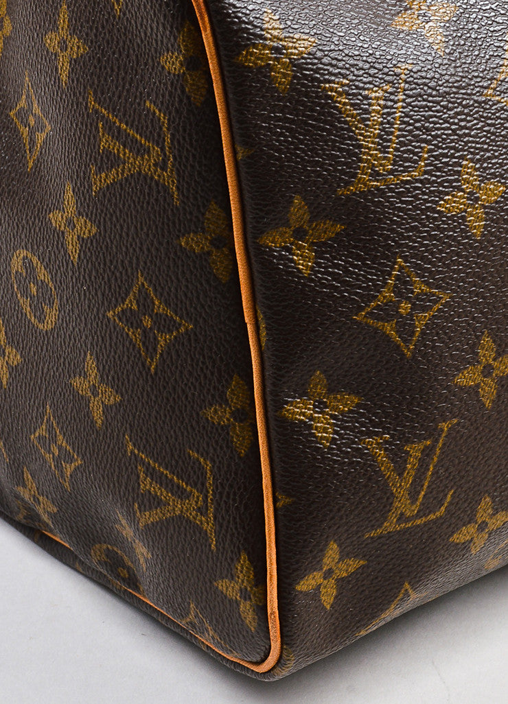 "Louis Vuitton Brown and Tan Coated Canvas Leather Trim Monogram ""Speedy 30"" Bag Detail"
