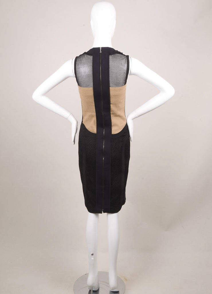 Narciso Rodriguez Black and Tan Sleeveless Cowl Neck Fitted Dress Backview