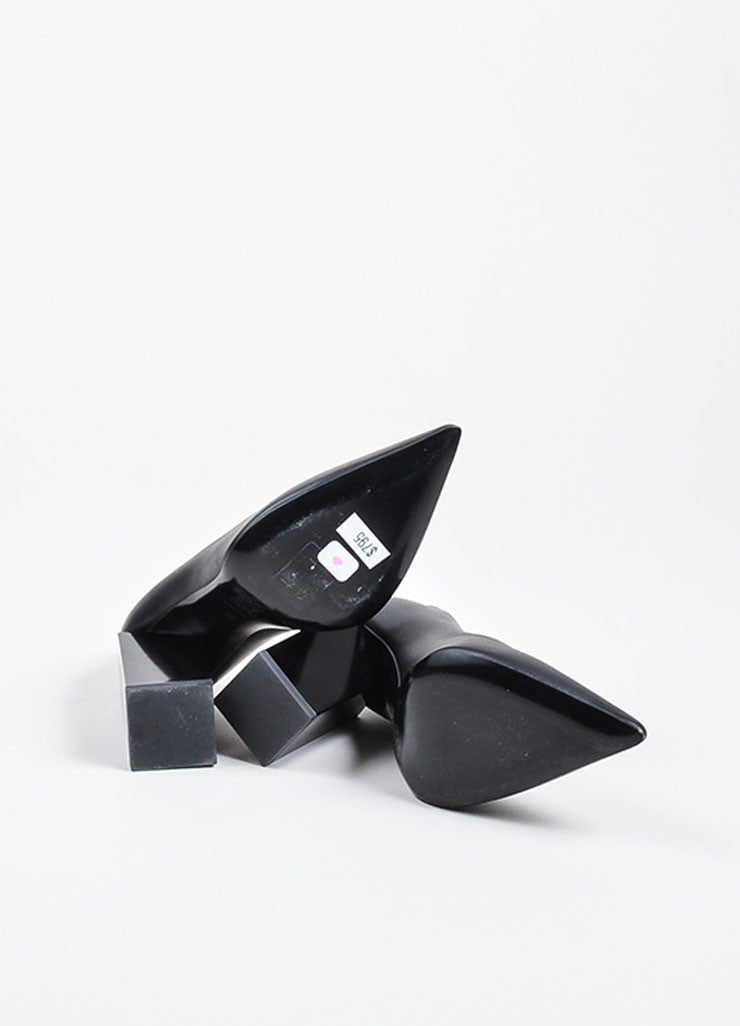 Pierre Hardy Black Leather Chunky Block Heel Pointed Toe Pumps Outsoles