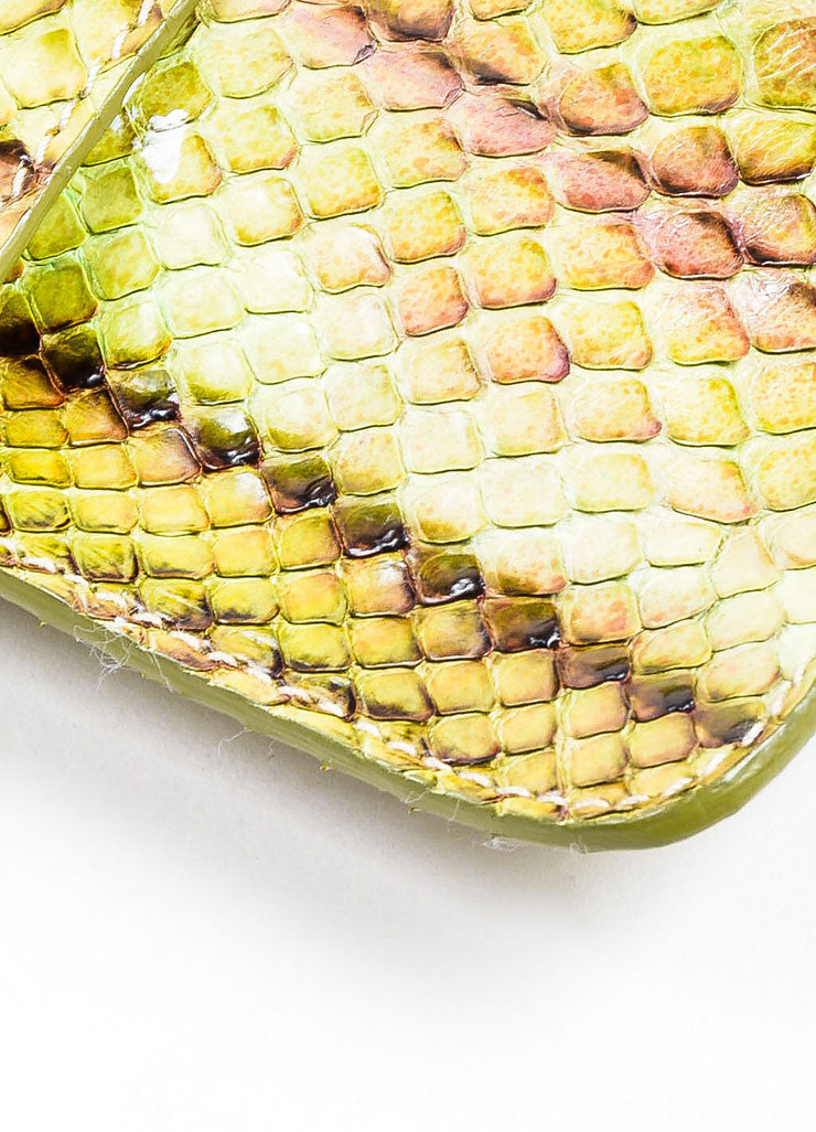 Green, Brown, and Purple Prada Python Snakeskin Top Flap Push Lock Wristlet Wallet Detail