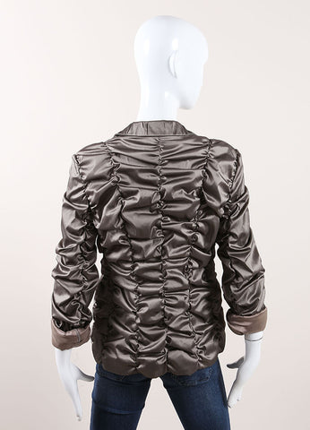 Rene Lezard New With Tags Metallic Grey Scrunch Jacket Backview
