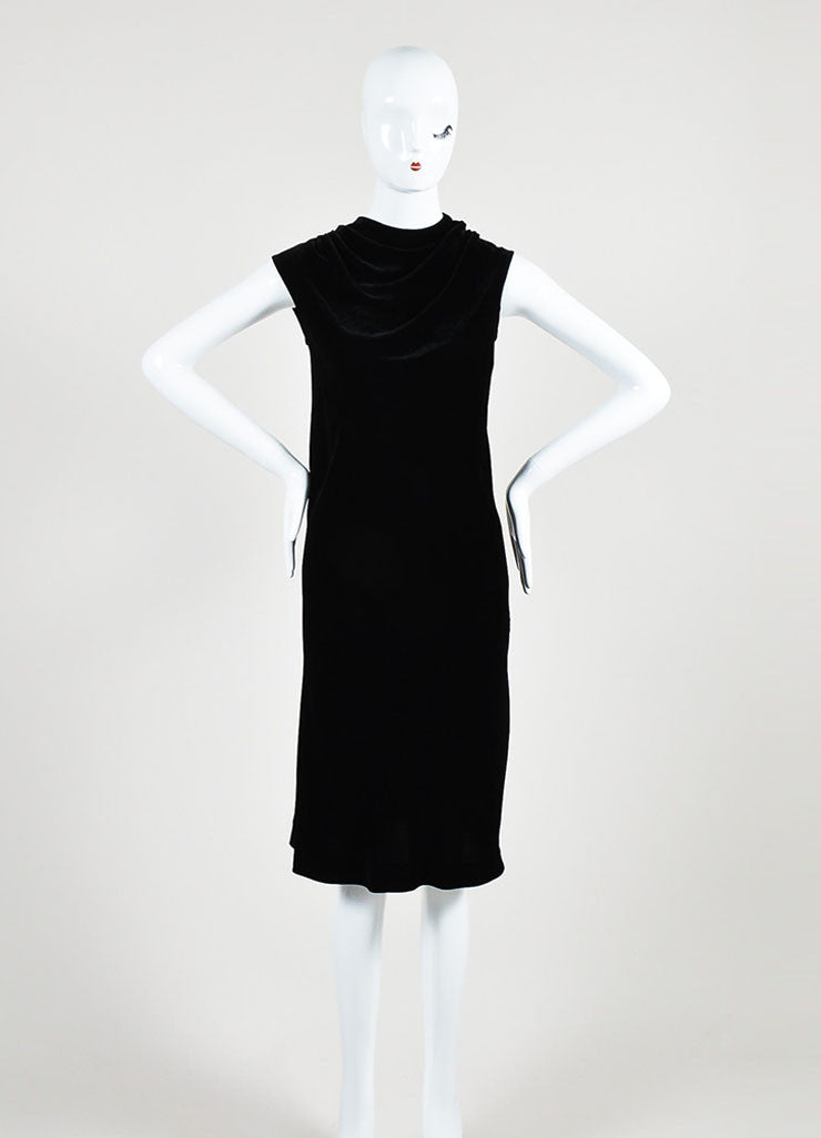 Black Rick Owens Velvet Cowl Neck Sleeveless Dress Frontview