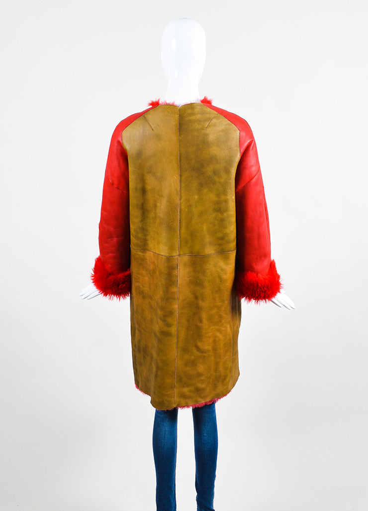 Red and Brown¥éË Sofie D'Hoore Fur Leather Reversible Patched Coat Backview