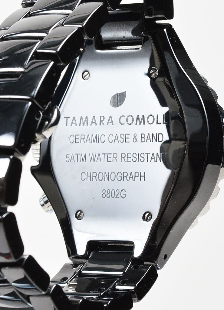Black and Silver Toned Tamara Comolli Cermaic Large Chronograph Bracelet Watch Brand