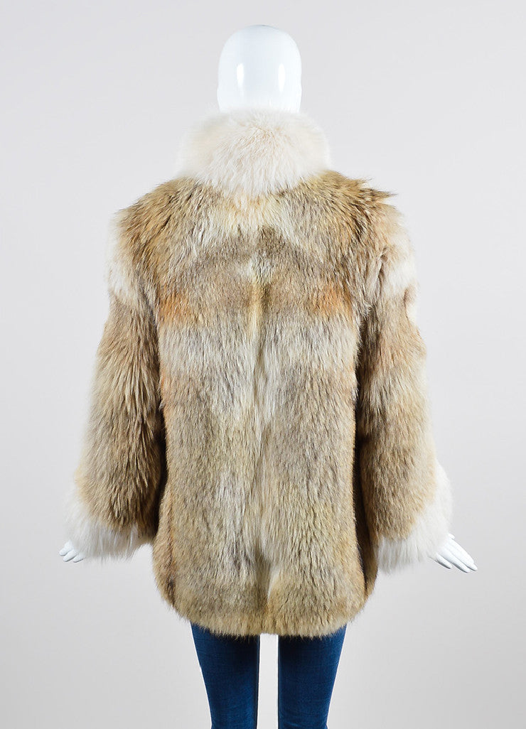 Cream, Beige, and Brown Fox Fur Winter Coat Backview
